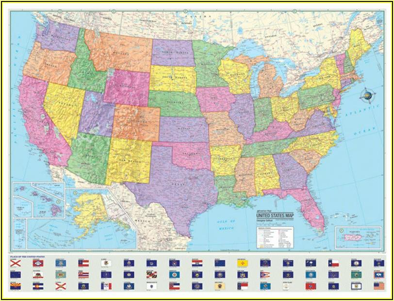 Large Laminated United States Map