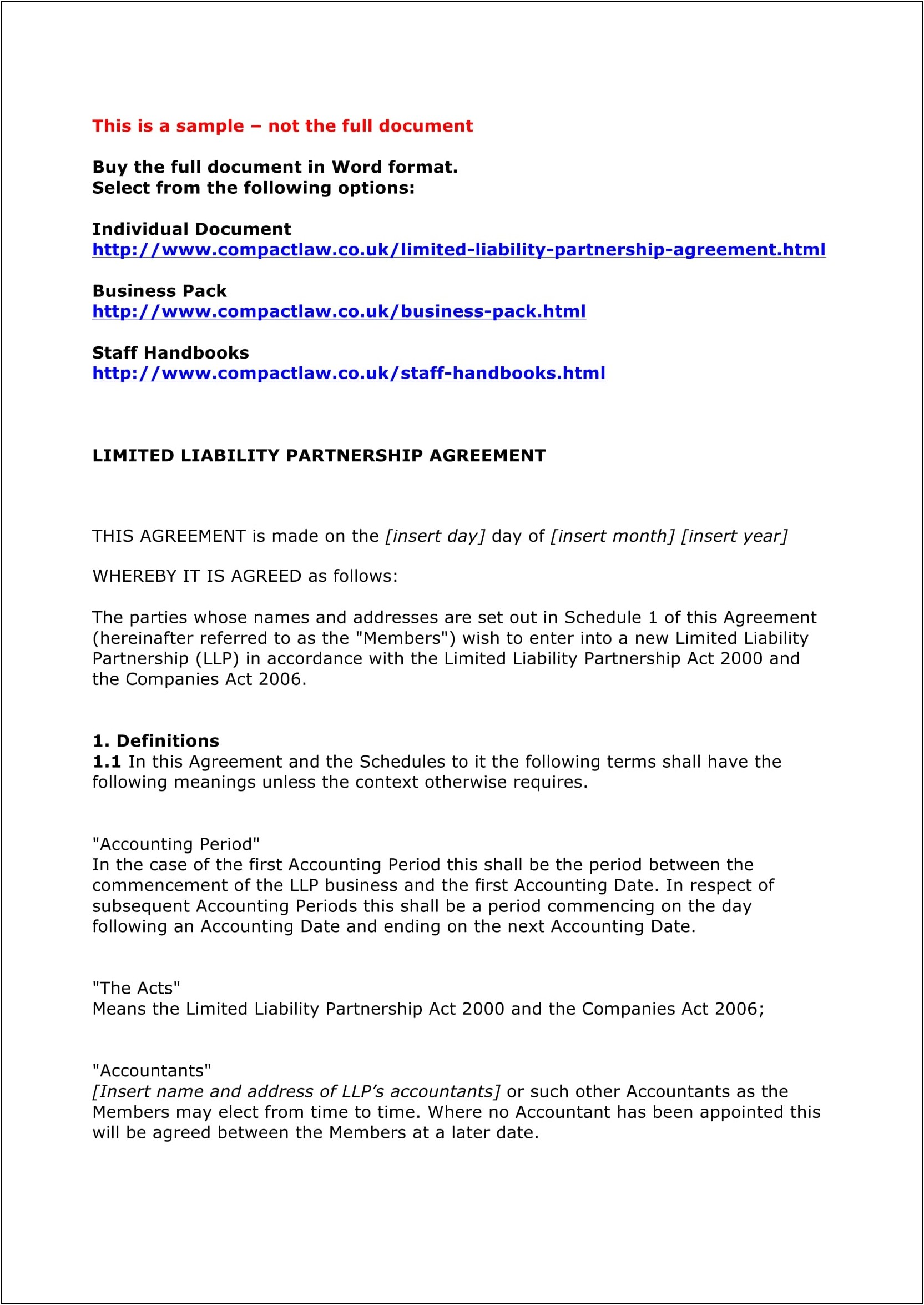 Llp Partnership Agreement Template Uk