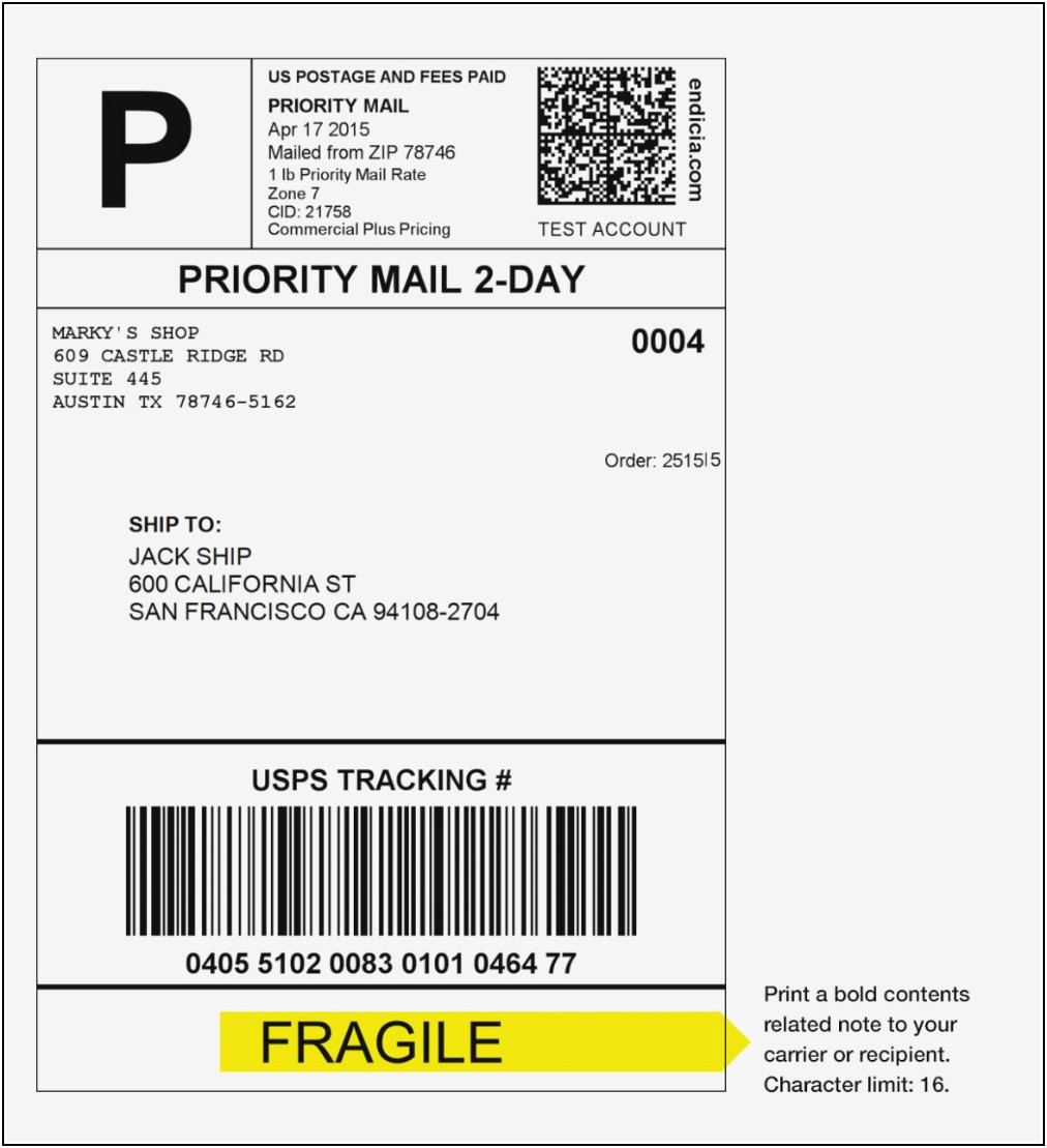 Mailing Label Format