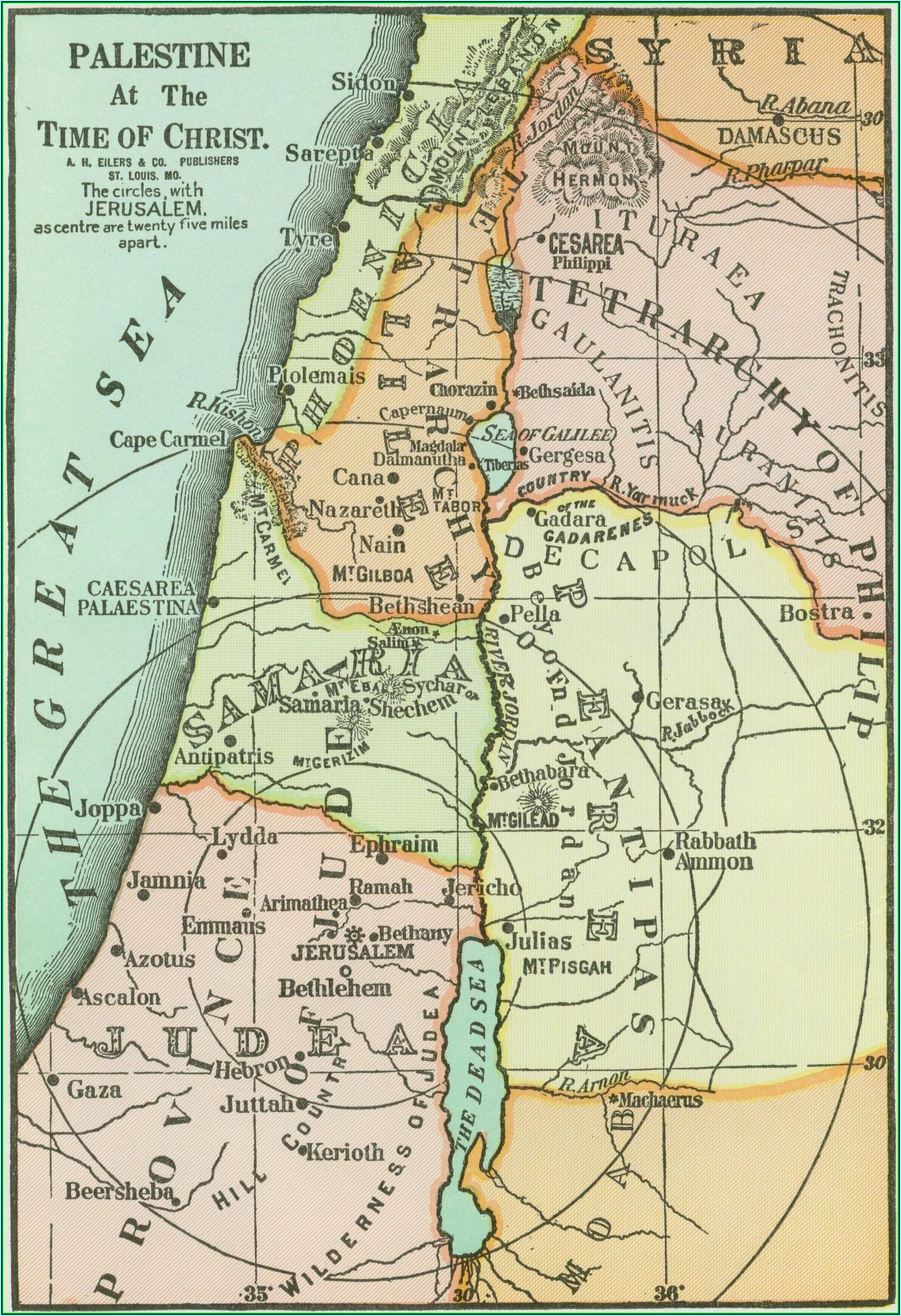 Map Ancient Palestine Time Jesus