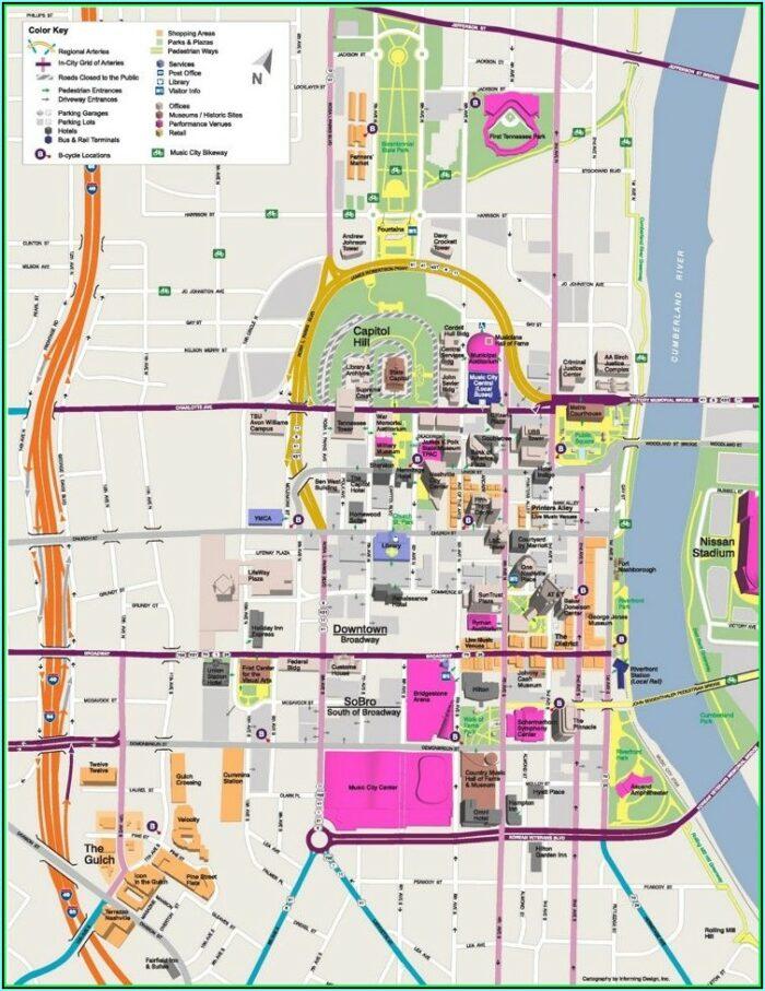 Map Downtown Nashville Hotels