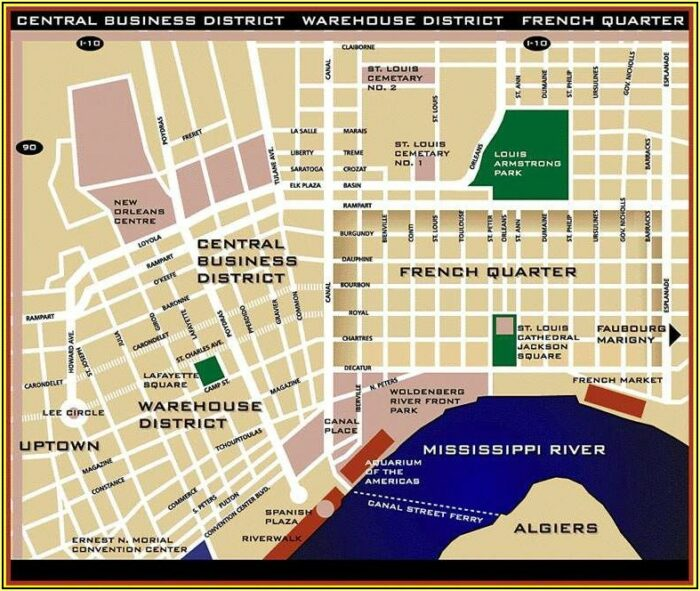 Map New Orleans French Quarter Hotels