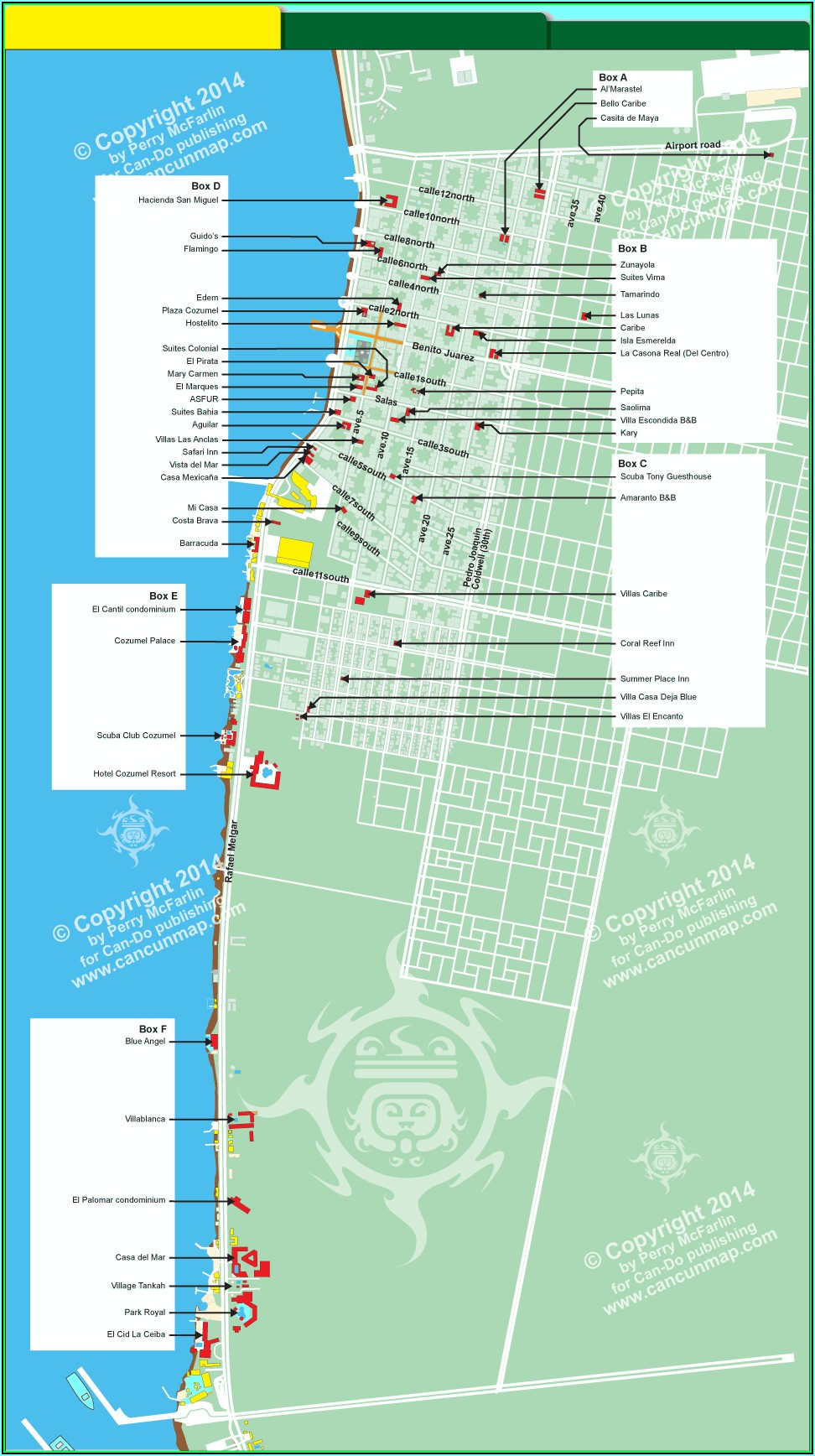 Map Of Beach Hotels In Cozumel