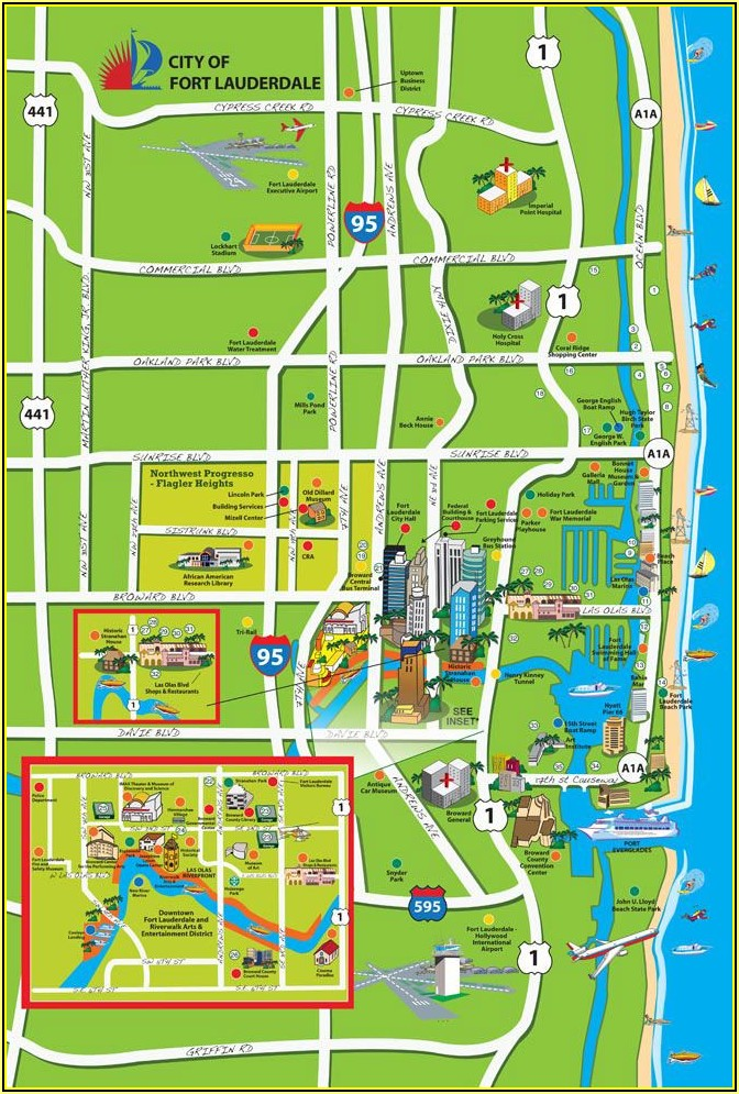 Map Of Beachfront Hotels In Fort Lauderdale