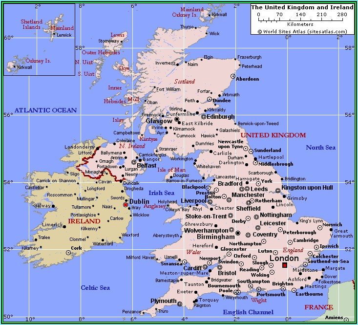 Map Of British Isles Showing Cities