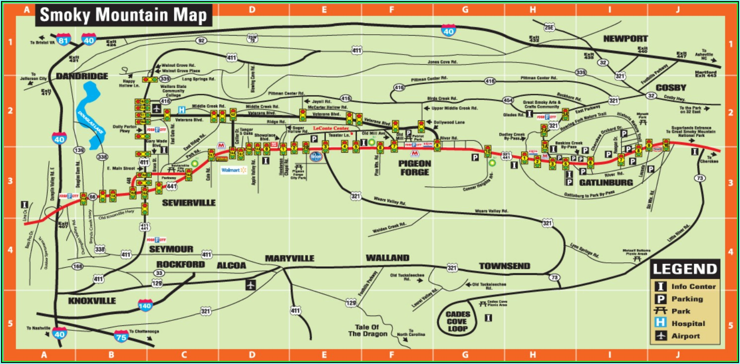 Map Of Gatlinburg Cabin Rentals