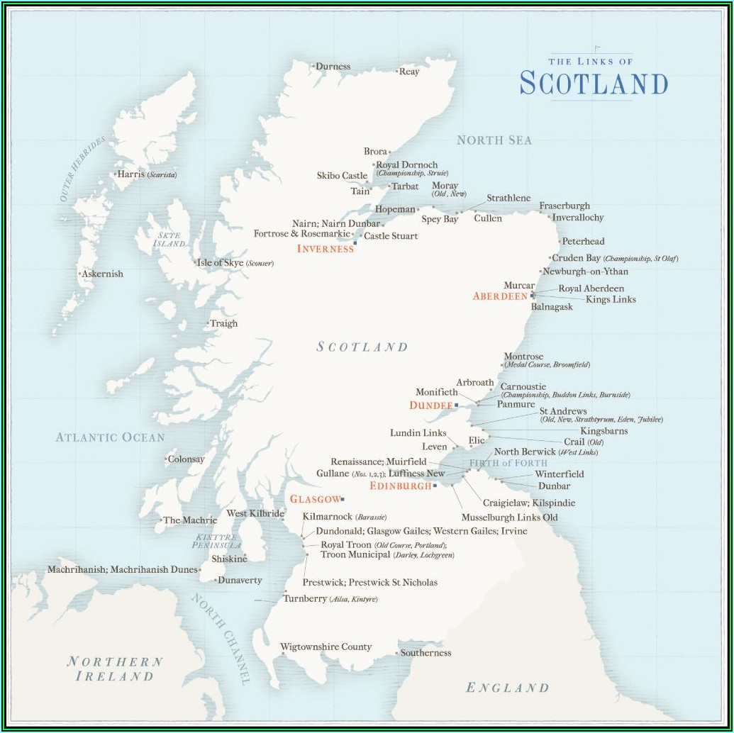 Map Of Golf Courses In Northern Scotland