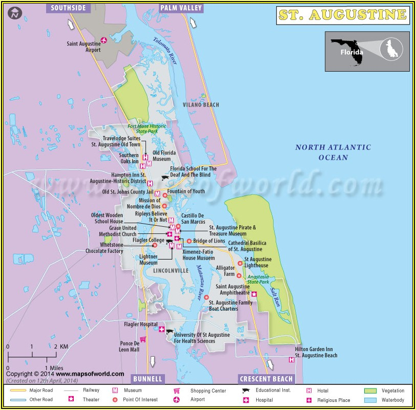 Map Of Hotels Downtown St Augustine Fl