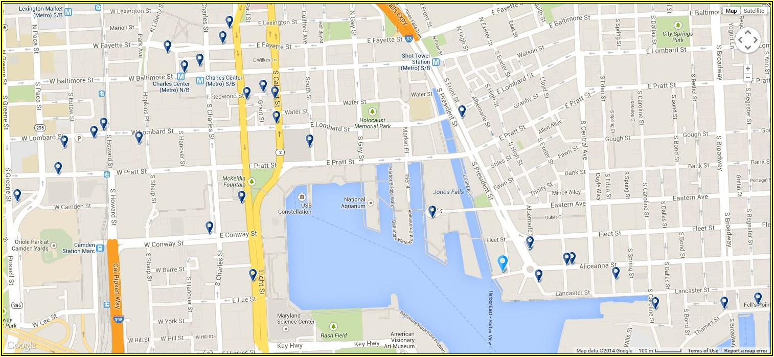 Map Of Hotels In Baltimore Inner Harbor Area