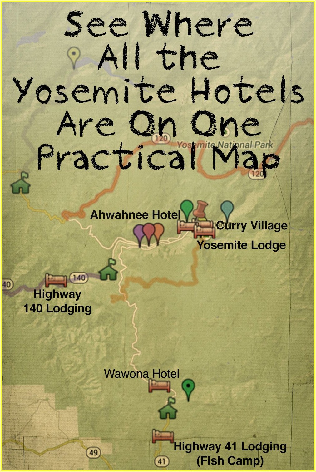 Map Of Hotels Near Yosemite National Park