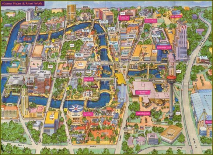 Map Of Hotels On The Riverwalk In San Antonio
