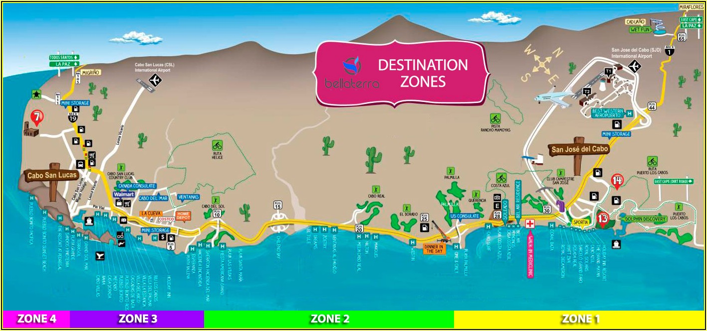 Map Of Los Cabos Hotel Zone