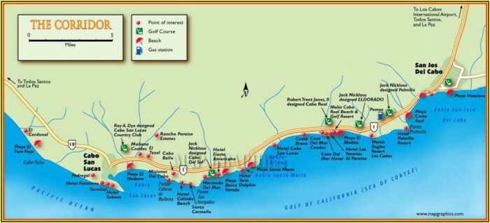 Map Of Los Cabos Hotels Mexico