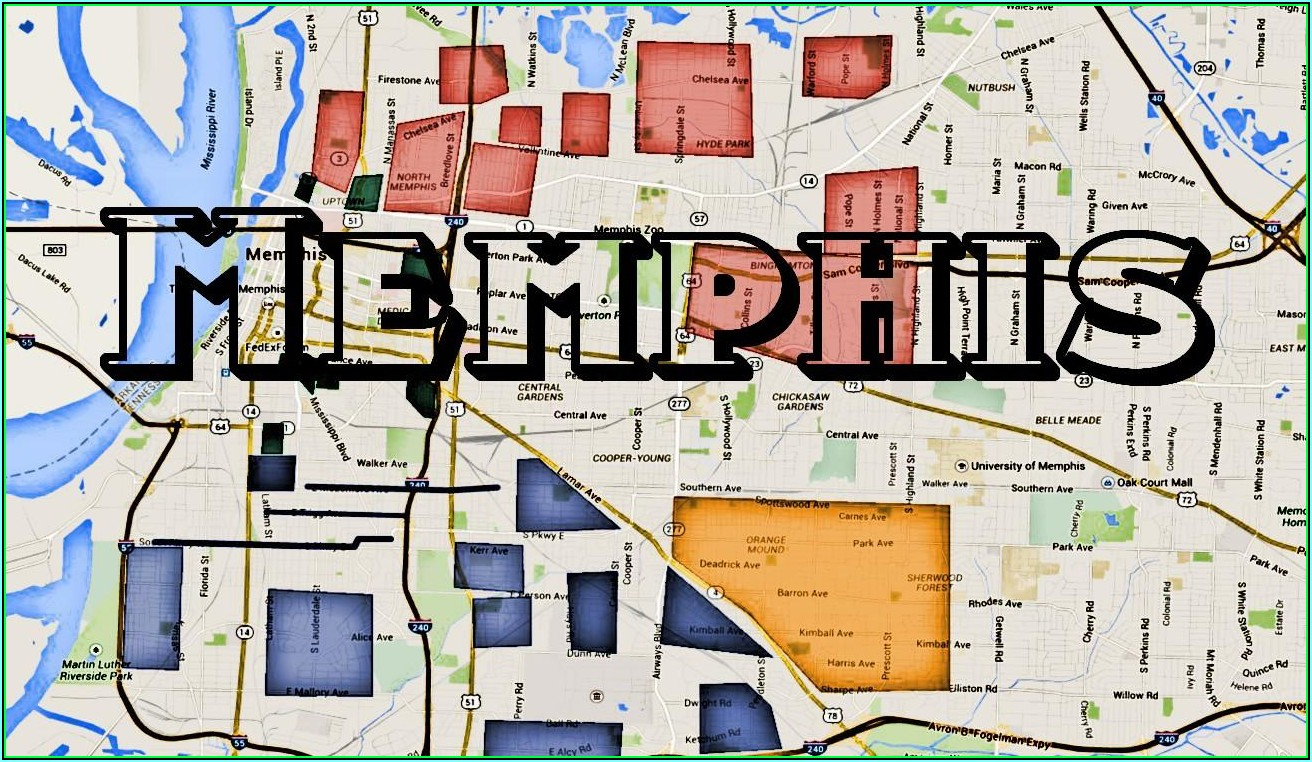 Map Of Memphis Tennessee Usa