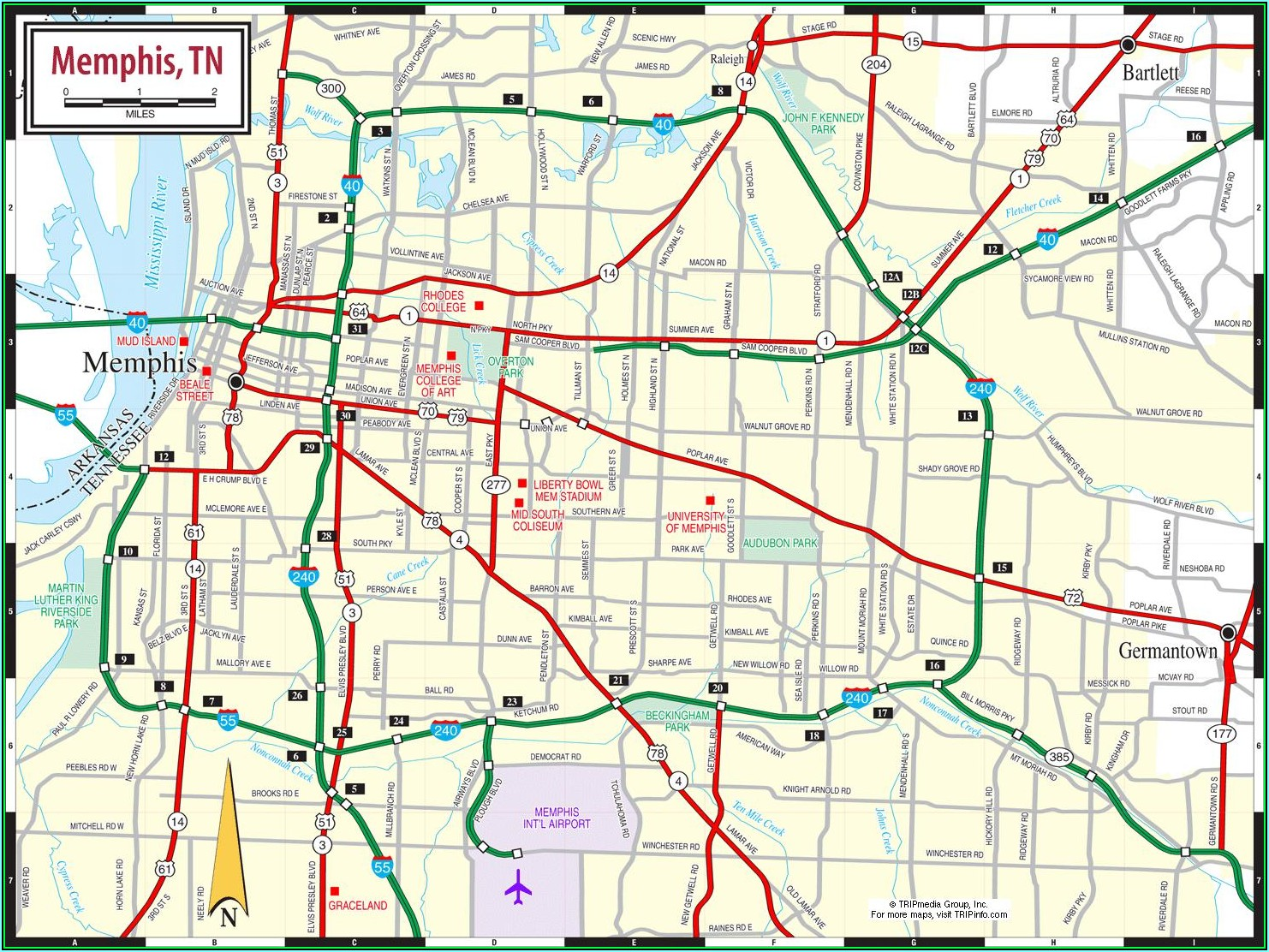 Map Of Memphis Tennessee