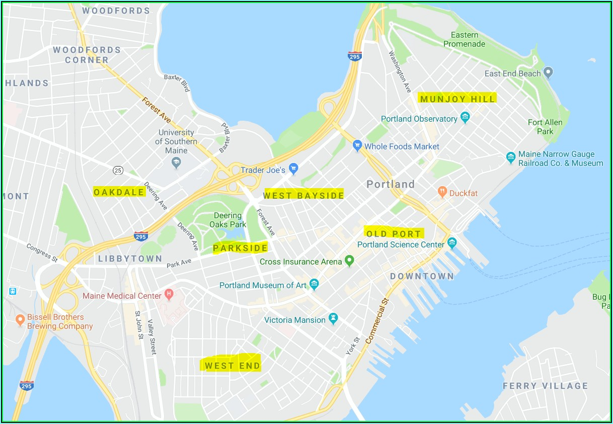 Map Of Portland Maine Neighborhoods