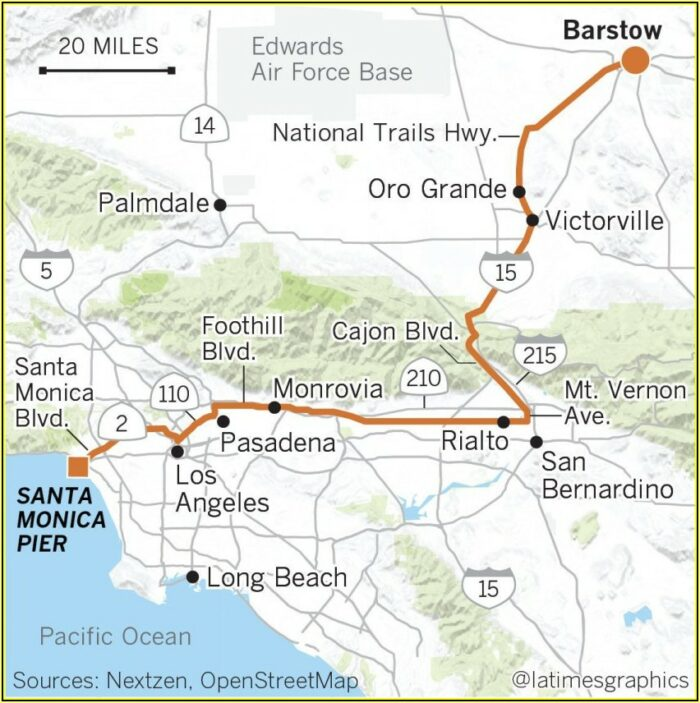 Map Of Rt 66 In California