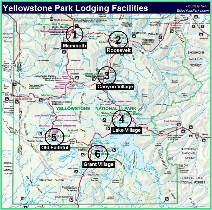 Map Of Yellowstone Hotels