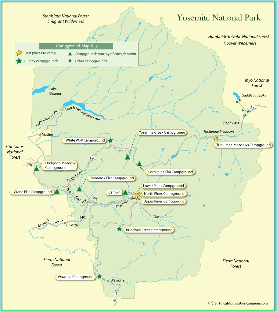 Map Of Yosemite National Park Attractions