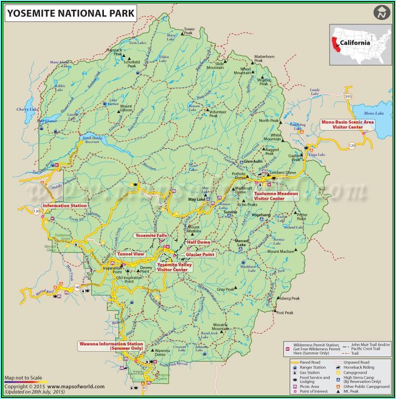 Map Of Yosemite National Park In California