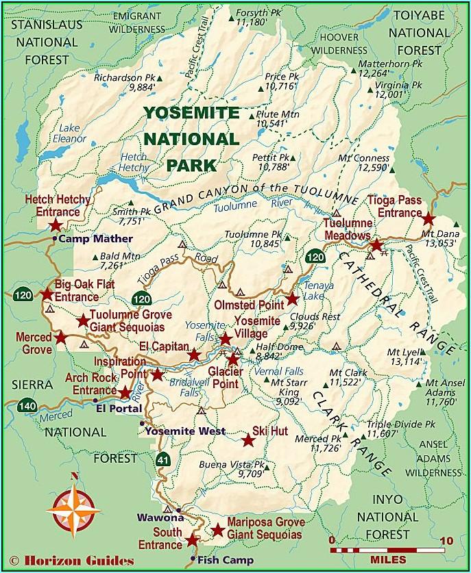 Map Of Yosemite National Park Lodging