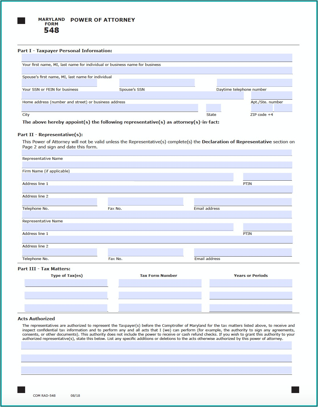 Maryland Power Of Attorney Form 548