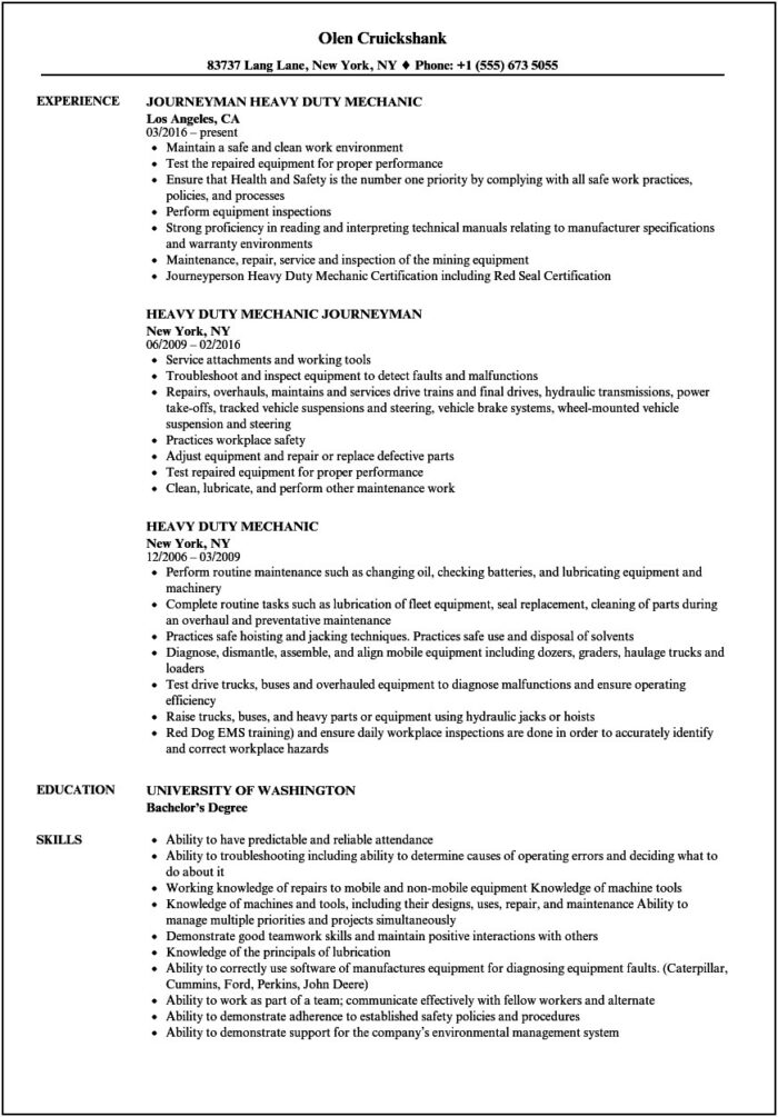 Mechanic Resume Template Australia