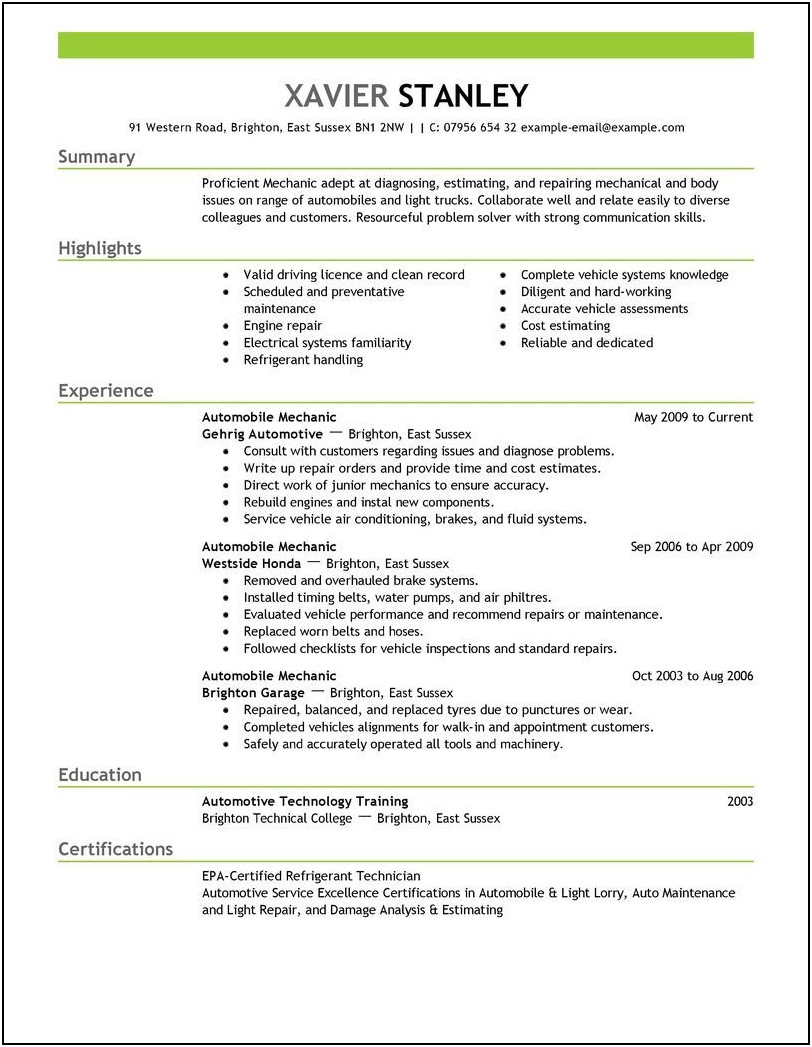 Mechanic Resume Template Download