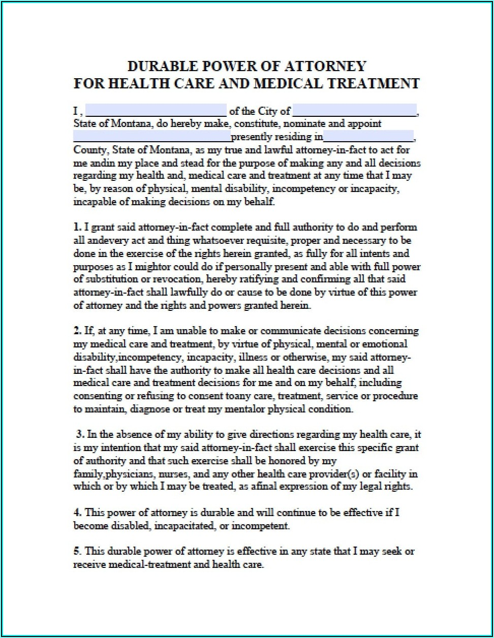 Medical Power Of Attorney Form Montana