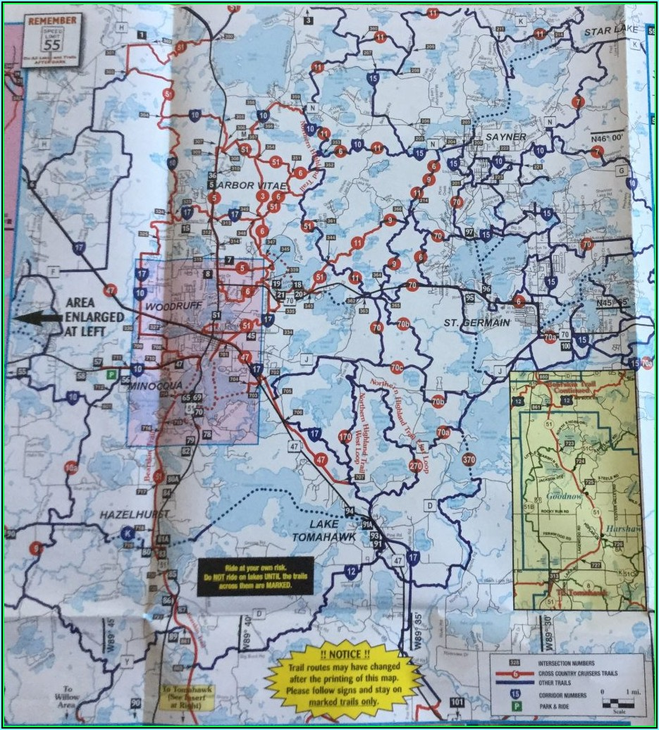 Mercer Wi Snowmobile Trail Map