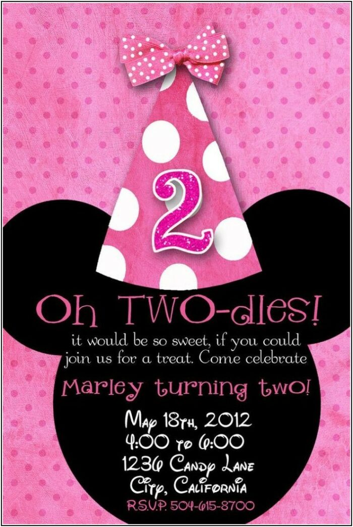 Minnie Mouse 2nd Birthday Invitation Template
