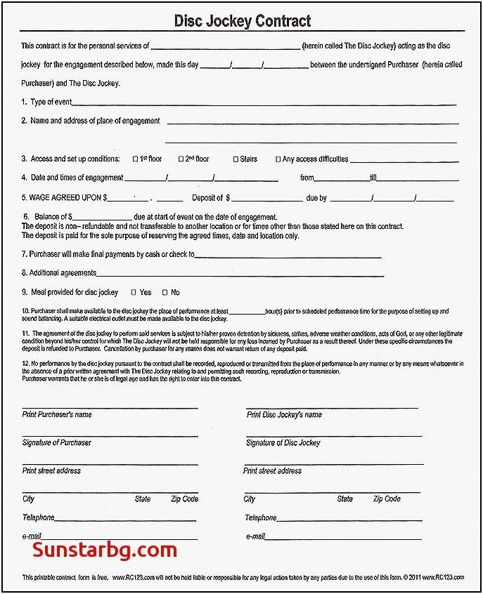 Mobile Dj Contract Template Free