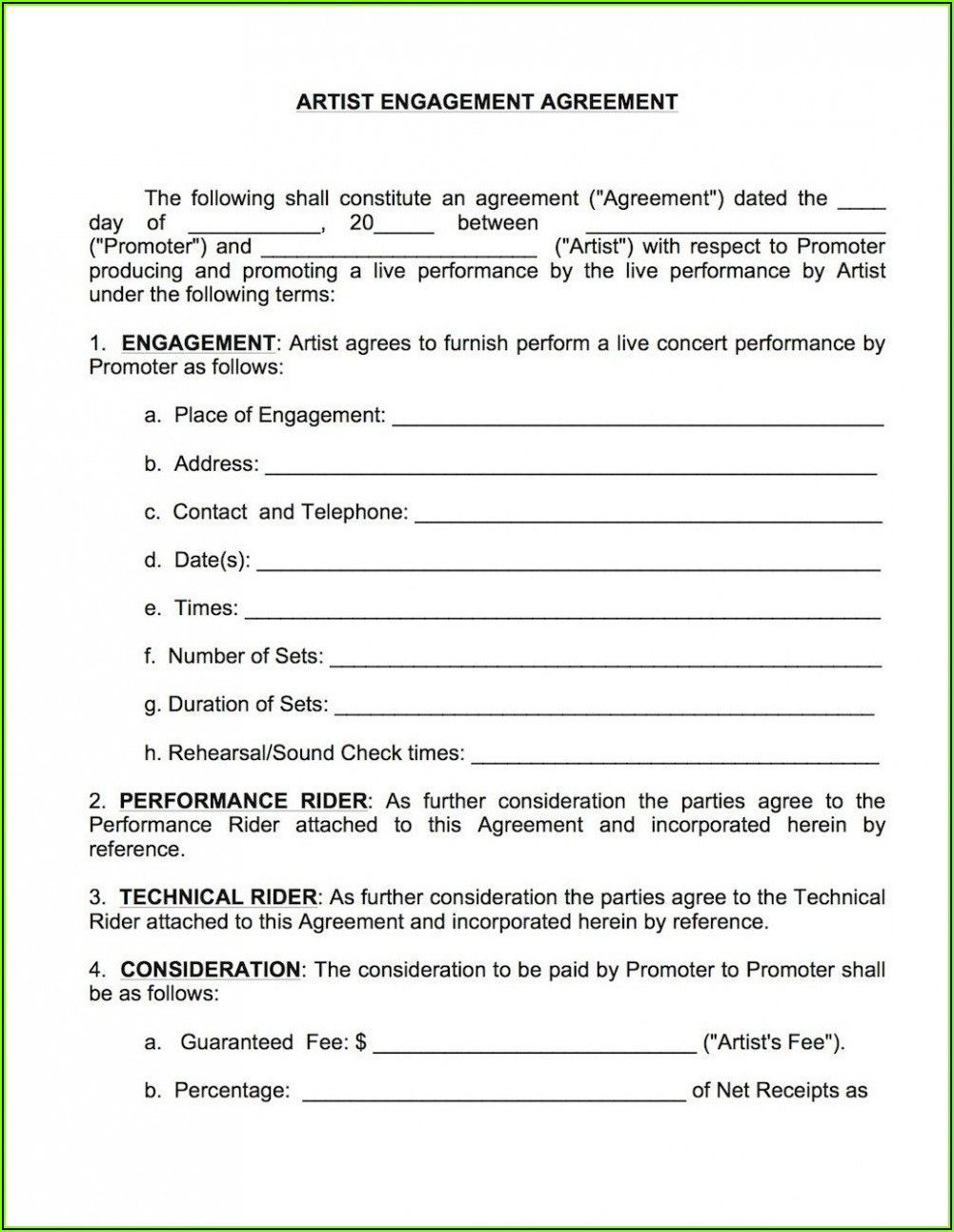 Musicians Performance Contract Template