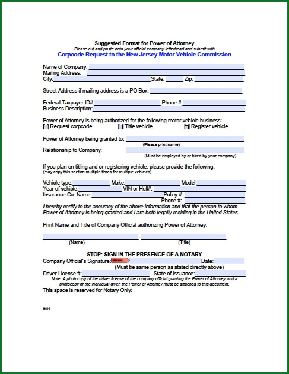 New Jersey Durable Power Of Attorney Form Free