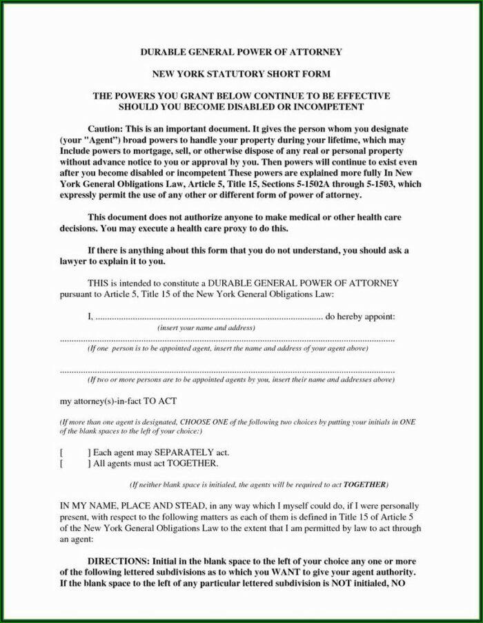 Nj Power Of Attorney Form Free