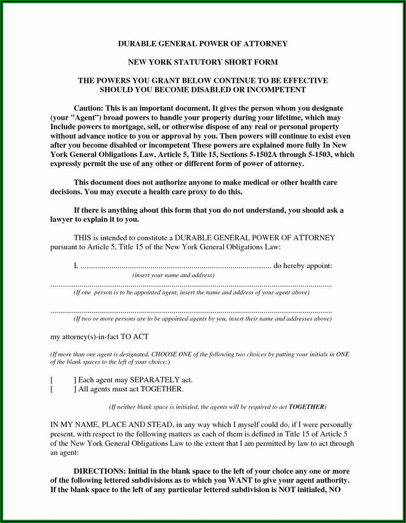 Nj Power Of Attorney Form Free