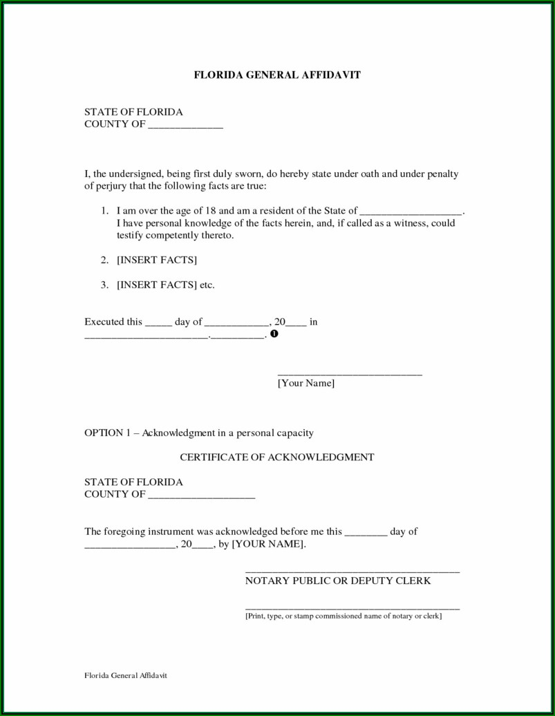 Notary Acknowledgement Form Florida