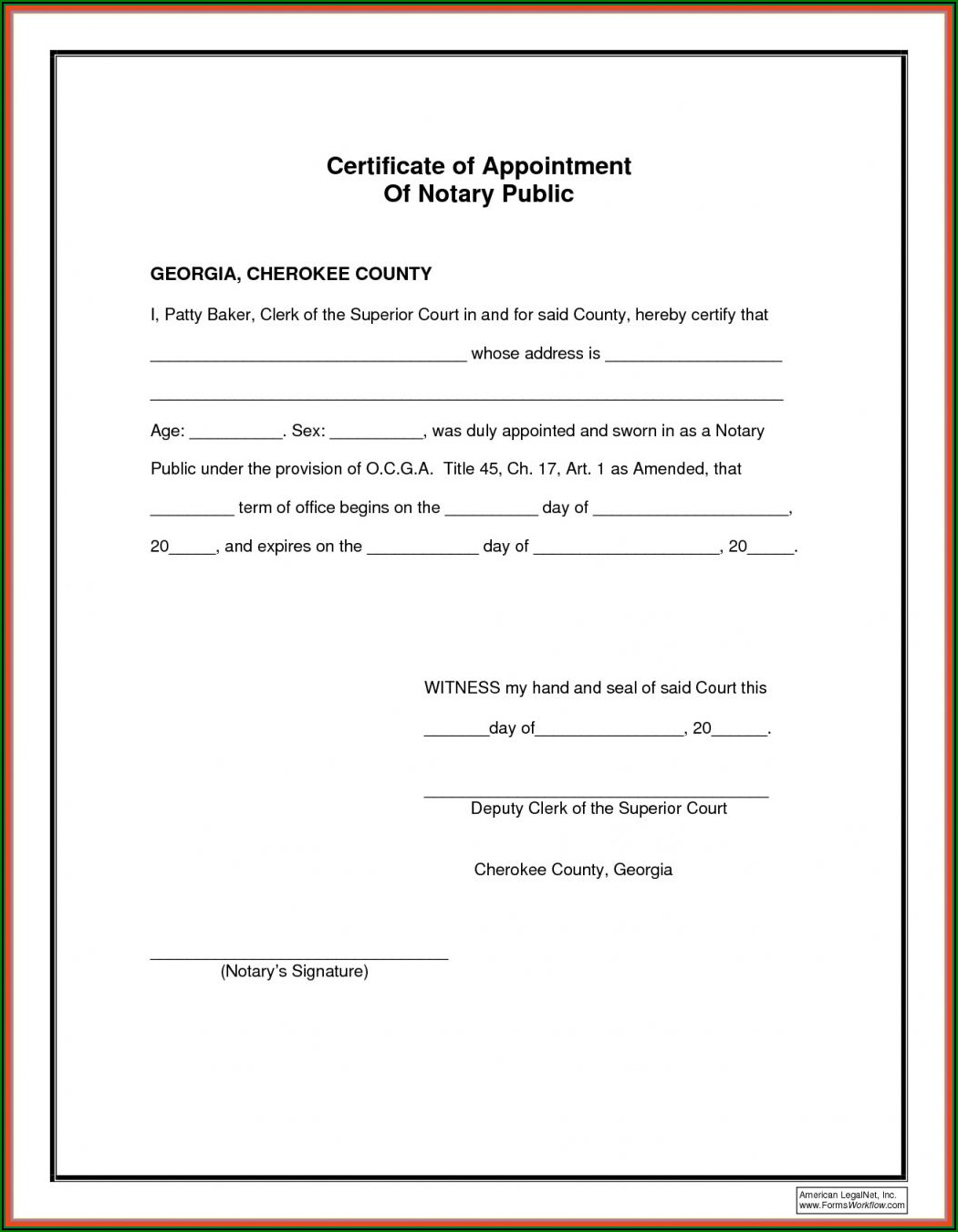 Notary Acknowledgement Form Georgia