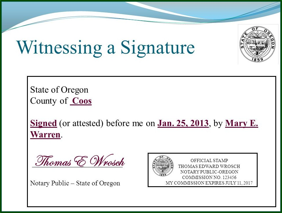 Notary Acknowledgement Form Oregon