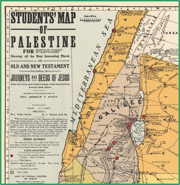 Old Map Of Palestine And Israel