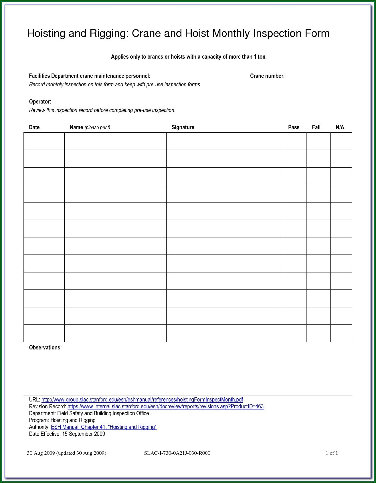 Osha Chain Sling Inspection Forms