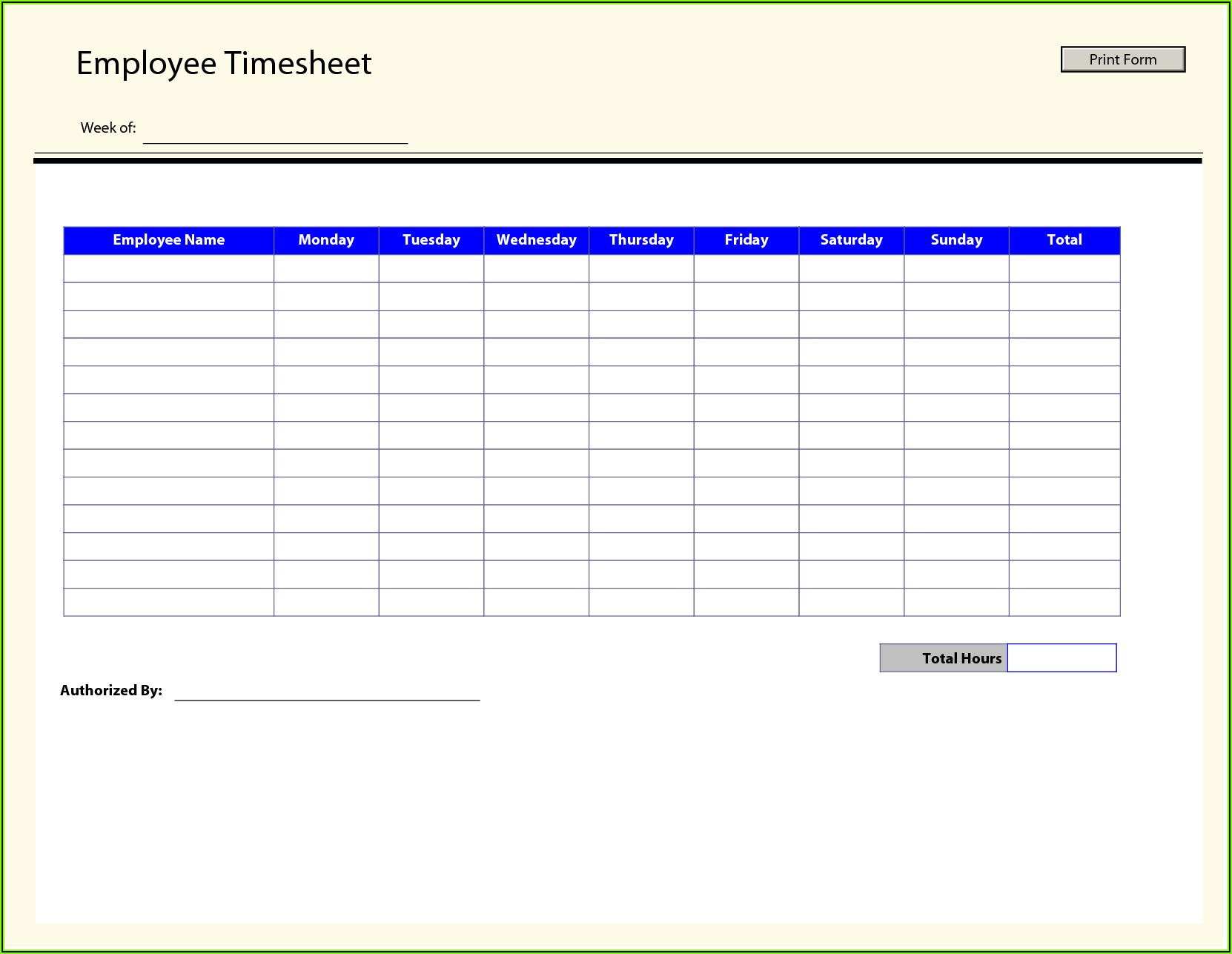 Payroll Timesheet Template Free