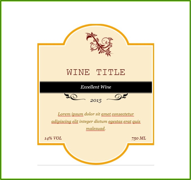 Personalised Wine Labels Template Free