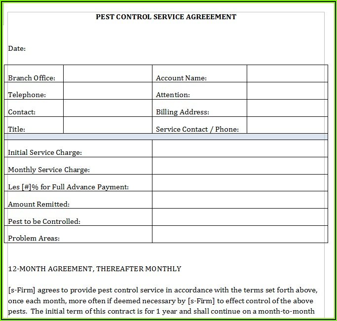 Pest Control Service Agreement Template