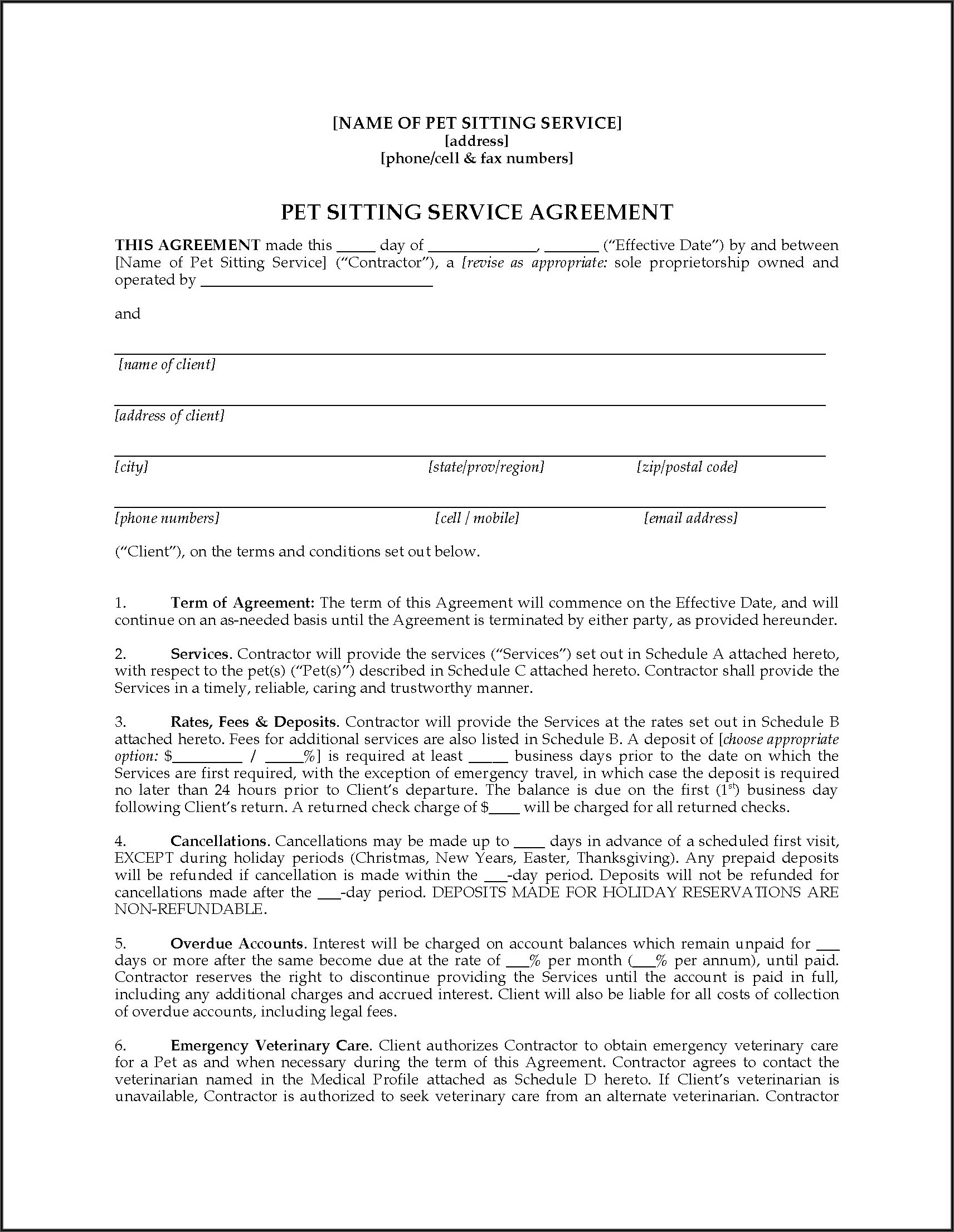 Pet Sitting Contract Example