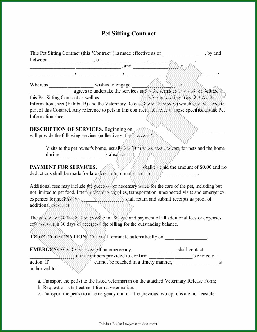 Pet Sitting Contract Sample