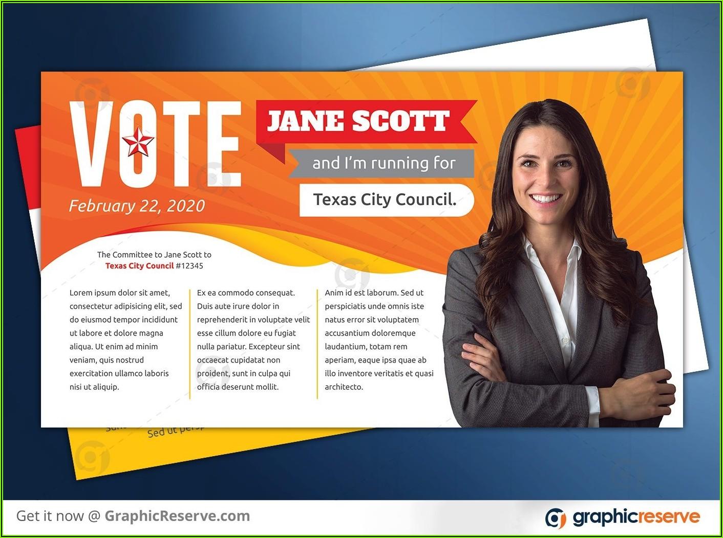 Political Campaign Postcard Template