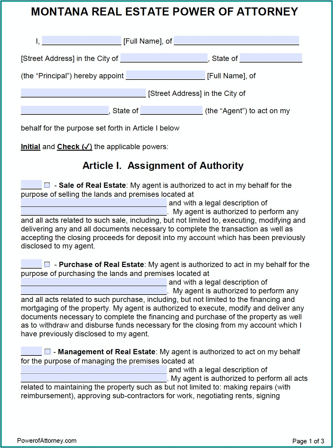 Power Of Attorney Form Montana Free