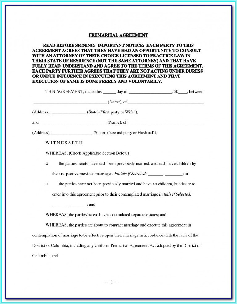 Prenuptial Agreement Form California Free Download