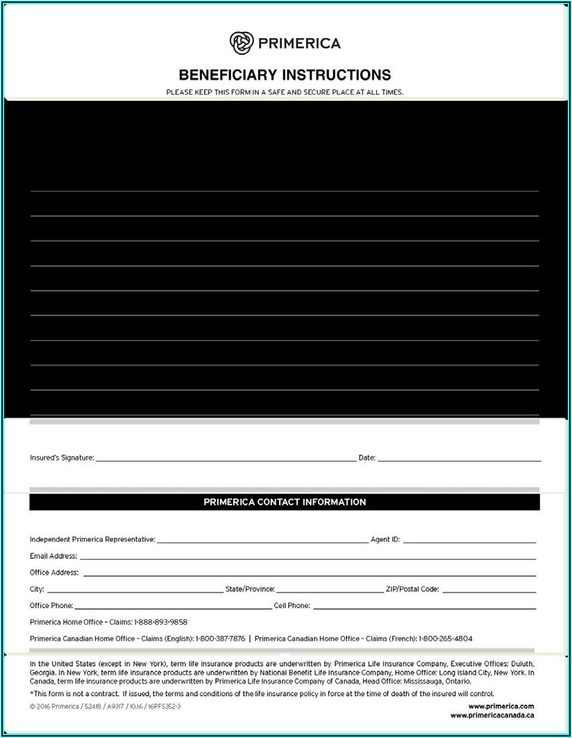 Primerica Life Insurance Collateral Assignment Form